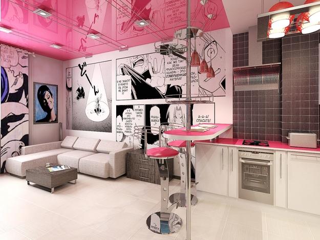 фото натяжного потолка в стиле поп-арт