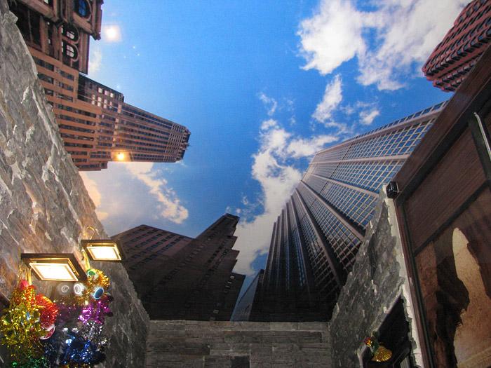 современный город- идея фотопечати на потолке