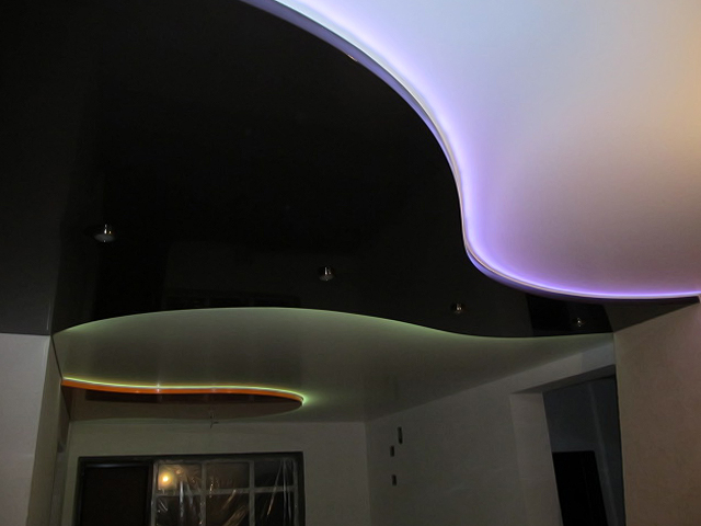 фото натяжного двухуровневого потолка