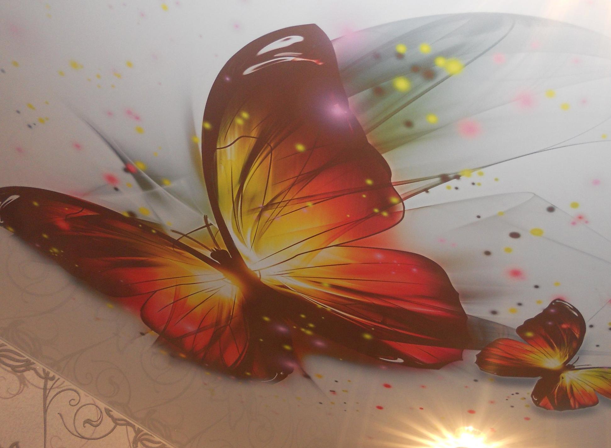 Натяжной потолок. Бабочка в детской комнате.